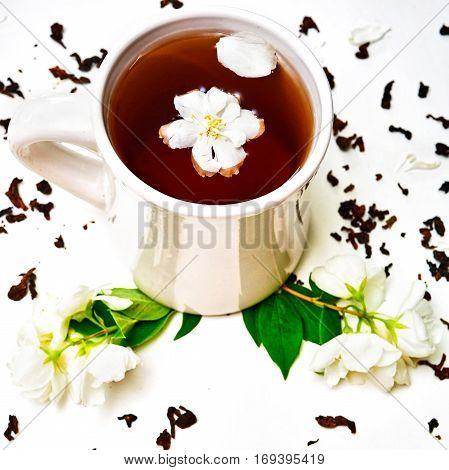 Tea Cup With Dried Jasmine And Fresh Fragrant Jasmine Flowers