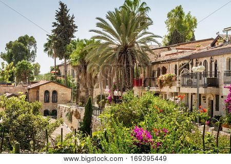 View of the historic neighborhood Yemin Moshe in Jerusalem, Israel
