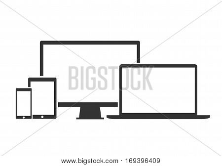 Flat design devices icons technology - stock vector.