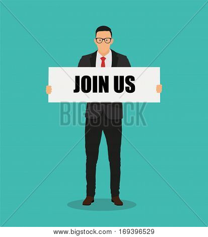 Join us cartoon concept business - stock vector.
