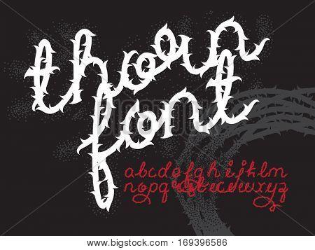 Thorn alphabet vector font. Brush script letters. Stock vector lettering typography