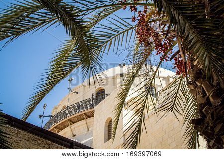 The Hurva Synagogue in Jewish quarter, Old City of Jerusalem in Israel, bottom view.