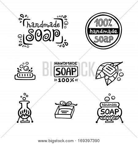 Hand drawn labels for handmade soap bars. Set of vector logo, badges and templates for all kind soap design, packaging or wrapping