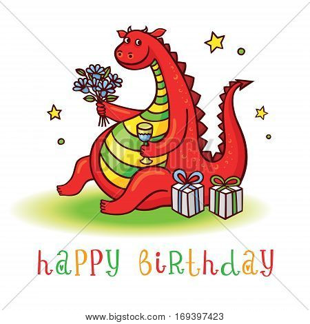 Dragon. Playful card with funny dragon at birthday party. Happy birthday invitation postcard with cute dinosaur. Vector animal clip art