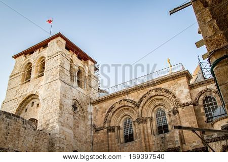 Bell tower of Church of the Holy Sepulchre in the Old City of Jerusalem, Israel, bottom view.
