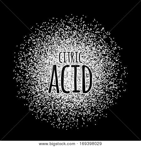 Citric acid as a white powder on a black background. Vector illustration