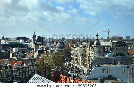 AMSTERDAM HOLLAND, MARCH 31 2015: cityscape of Amsterdam Holland. Editorial use.