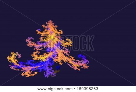 colorful fractal Christmas tree on black background