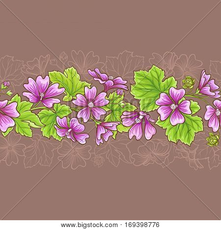malva vector seamless pattern on color background