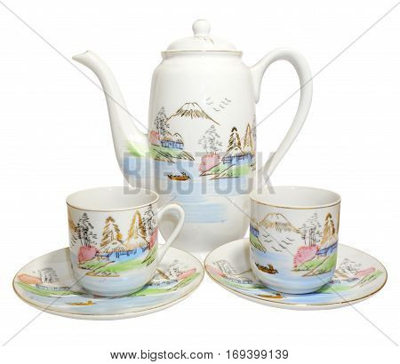 Coffeepot and coffee cups isolated on white. Beautiful porcelain.