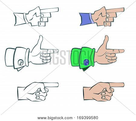 hand shows the direction. Three types. silhouette and colored drawing. vector illustration .