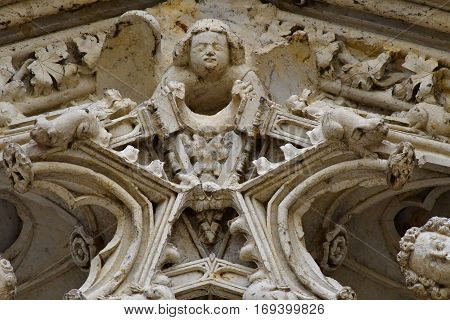Mantes la Jolie; France - october 18 2016 : portal of the gothic collegiate church