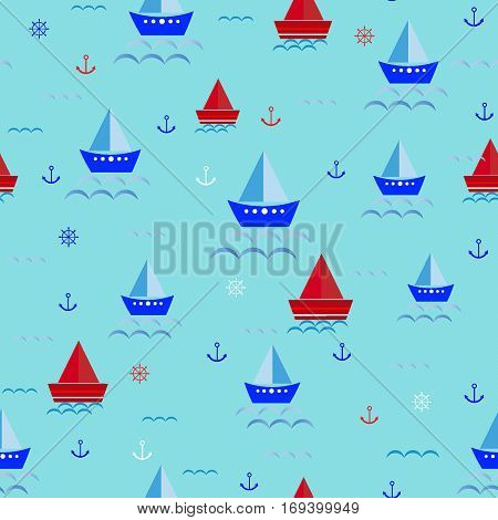 Seamless children's cartoon seamless pattern with ships, boats, anchor, steering wheel, sailfish vector illustration