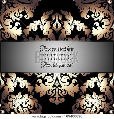 Baroque Background With Antique, Luxury Black And Gold Vintage Frame, Victorian Banner, Damask Flora