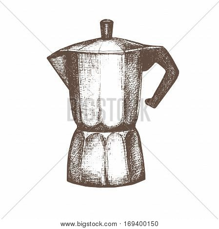 Vector illustration with sketch geyser coffee maker. Sketch of kitchen utensils in vintage style. Vector illustration. Hand drawn sketch. Black and white sketch.