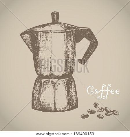 Vector illustration with sketch geyser coffee maker. Sketch of kitchen utensils in vintage style. Vector illustration. Hand drawn sketch.