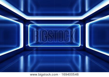 3D rendering of a blue futuristic background