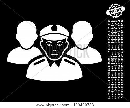 Army Team pictograph with bonus occupation images. Vector illustration style is flat iconic white symbols on black background.