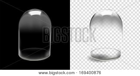 Glass dome isolated in black background and transparent background