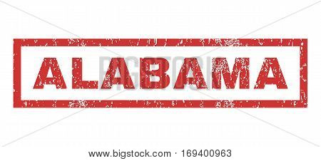 Alabama text rubber seal stamp watermark. Tag inside rectangular shape with grunge design and scratched texture. Horizontal vector red ink sign on a white background.