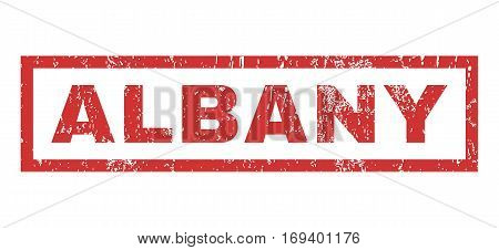 Albany text rubber seal stamp watermark. Caption inside rectangular banner with grunge design and dust texture. Horizontal vector red ink emblem on a white background.