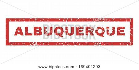 Albuquerque text rubber seal stamp watermark. Caption inside rectangular shape with grunge design and dust texture. Horizontal vector red ink sign on a white background.