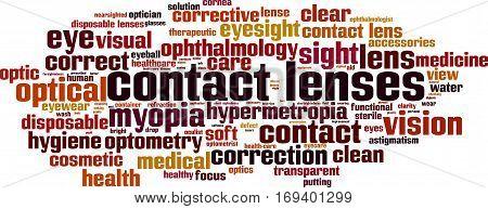 Contact lenses word cloud concept. Vector illustration