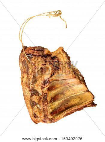 isolated smoked pork rib on white background