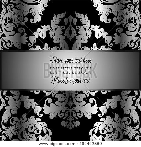 Baroque Background With Antique, Luxury Gray And Metal Silver Vintage Frame, Victorian Banner, Damas