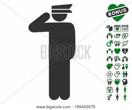 Police Officer icon with bonus love icon set. Vector illustration style is flat iconic green and gray symbols on white background.