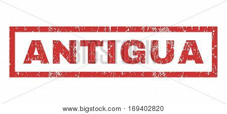 Antigua text rubber seal stamp watermark. Caption inside rectangular shape with grunge design and dirty texture. Horizontal vector red ink emblem on a white background.