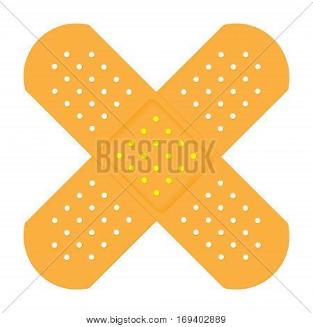 Cross Shaped Plasters. Vector Illustration Of  Adhesive Bands