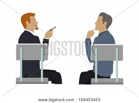 Side view of two businessmen sitting on gray chairs. Business people series. Communication, dialogue, group of employees, information sharing, discussion, dispute. Vector illustration.