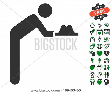 Servant With Hat icon with bonus love graphic icons. Vector illustration style is flat iconic green and gray symbols on white background.