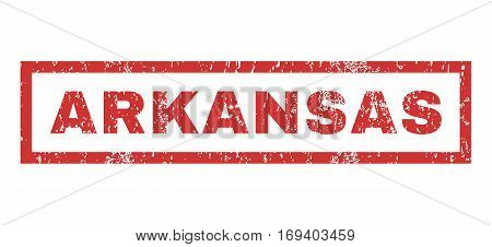 Arkansas text rubber seal stamp watermark. Caption inside rectangular banner with grunge design and unclean texture. Horizontal vector red ink sticker on a white background.