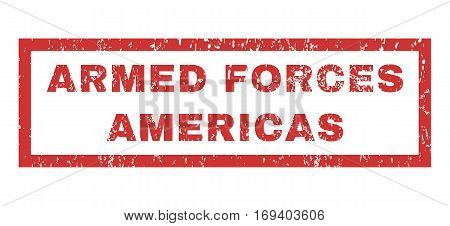 Armed Forces Americas text rubber seal stamp watermark. Tag inside rectangular shape with grunge design and dust texture. Horizontal vector red ink emblem on a white background.