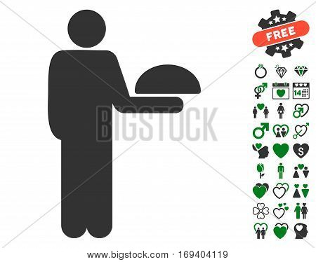 Standing Waiter icon with bonus love pictograph collection. Vector illustration style is flat iconic green and gray symbols on white background.