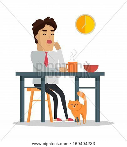 Fatigue after work day concept. Vector in flat design. Tired man in a shirt and tie yawning at the table during dinner at home. Early waking up and lack of sleep. On white background