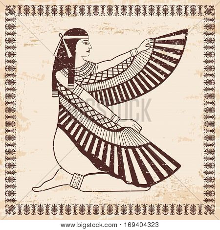 Vector illustration of Egyptian national drawing. Goddess Isis. Brown drawing on a beige background with the effect of aging.