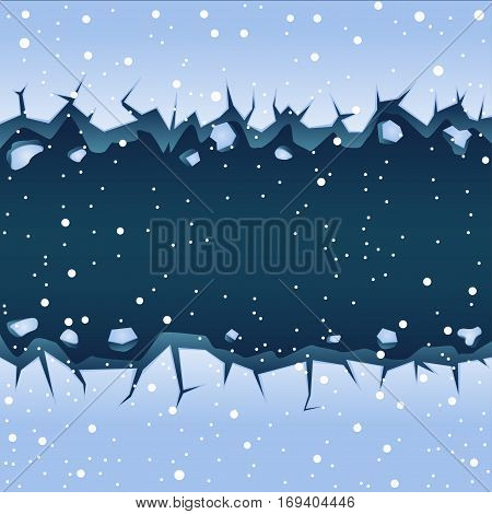 Big straight blue ice crack on lake or river and falling snow. Winter theme graphic vector clipart
