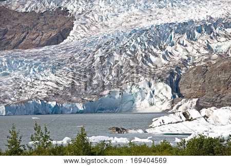 Mendenhall Glacier and lake in Juneau, Alaska.