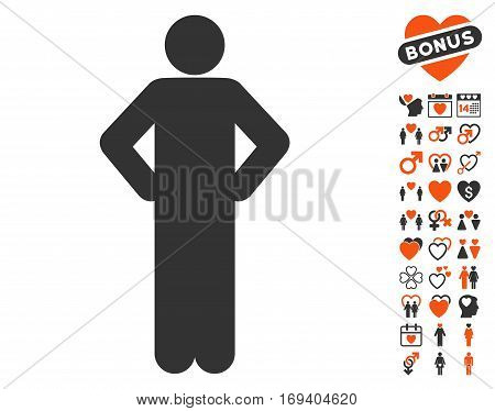 Akimbo Pose pictograph with bonus love pictograms. Vector illustration style is flat iconic orange and gray symbols on white background.