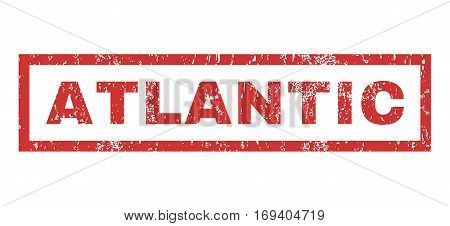 Atlantic text rubber seal stamp watermark. Tag inside rectangular banner with grunge design and scratched texture. Horizontal vector red ink emblem on a white background.