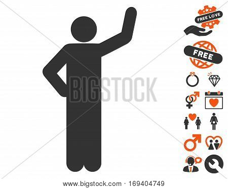 Assurance Pose icon with bonus valentine pictures. Vector illustration style is flat iconic orange and gray symbols on white background.