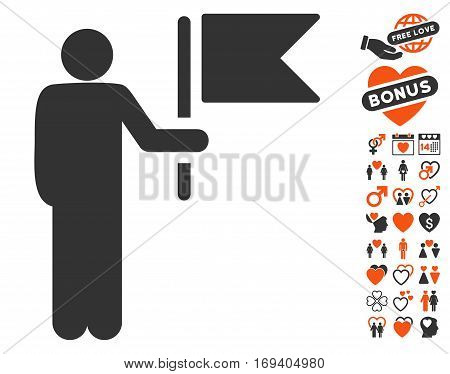 Commander With Flag pictograph with bonus lovely images. Vector illustration style is flat iconic orange and gray symbols on white background.