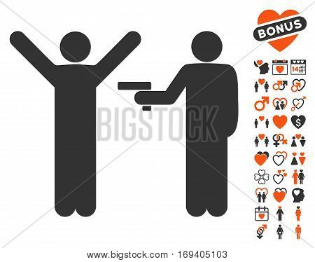Crime Robbery icon with bonus dating pictograph collection. Vector illustration style is flat iconic orange and gray symbols on white background.