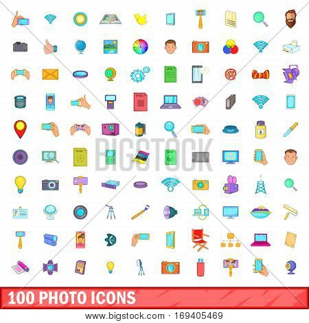 100 photo icons set in cartoon style for any design vector illustration