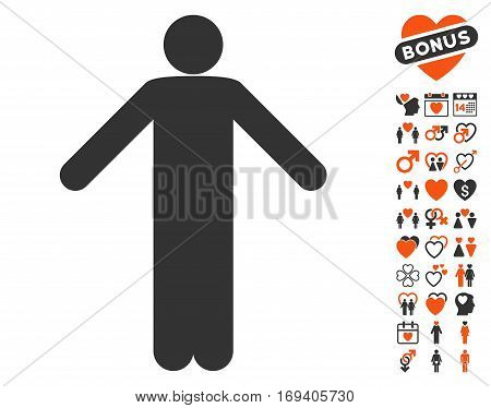 Ignorance Pose pictograph with bonus dating pictograms. Vector illustration style is flat iconic orange and gray symbols on white background.