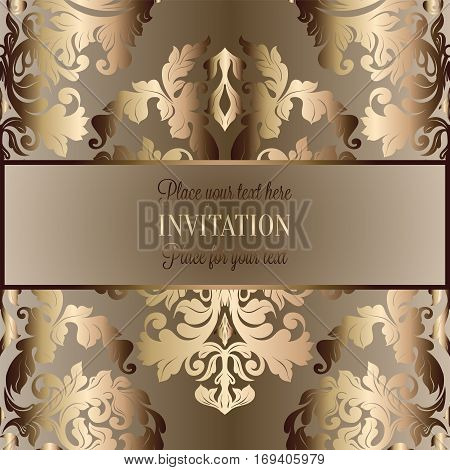 Baroque Background With Antique, Luxury Beige, Brown And Gold Vintage Frame, Victorian Banner, Damas
