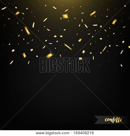 Holiday confetti isolated on dark background with light. Golden confetti. Confetti with motion effect